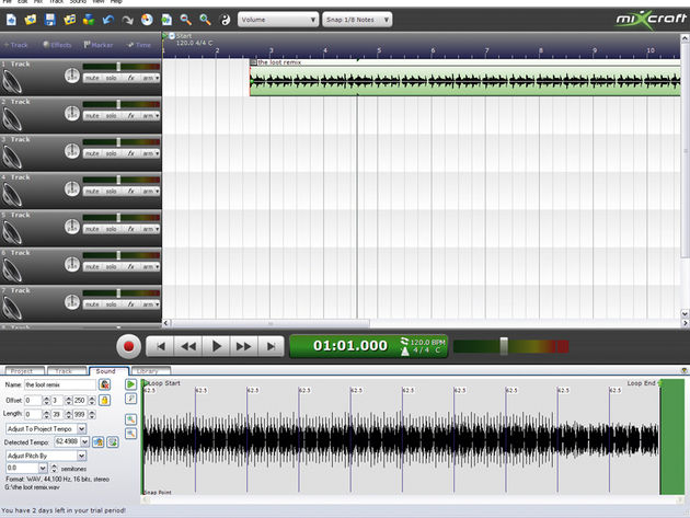 The tempo of long audio files is automatically detected, making Mixcraft suitable for remixers.