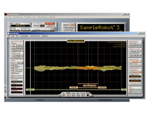 An internal audio editor called WaveRobot 3 is supplied.