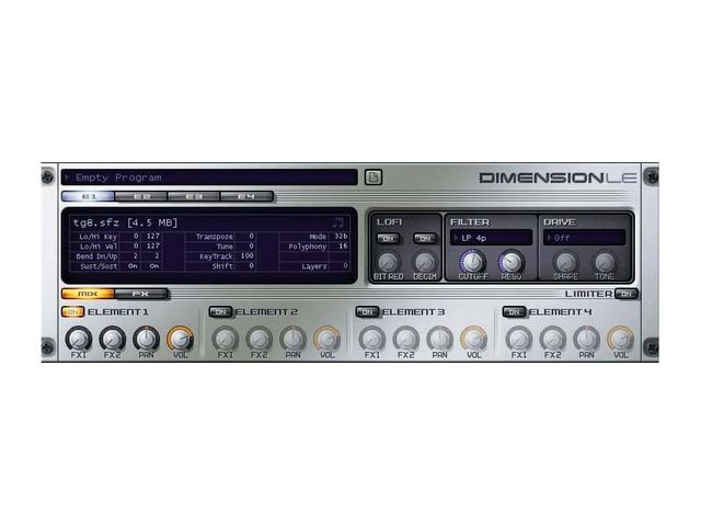 A copy of Cakewalk's Dimension LE sampler ships with the software.