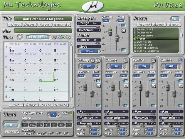 Mu Voice lets you create up to four harmony parts.