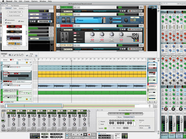 Record's interface features an arrange page, a mixer and a rack.