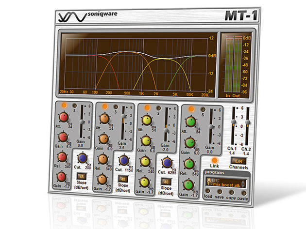 MT-1's graph displays crossover points, and there are controls for each band.