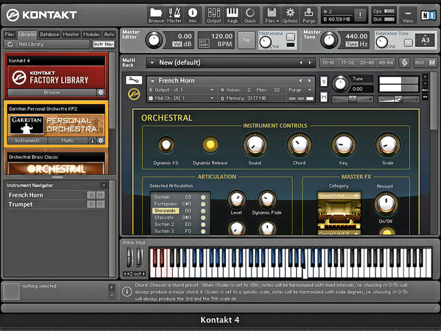 Each of Kontakt 4's seven library categories now has its own skin.