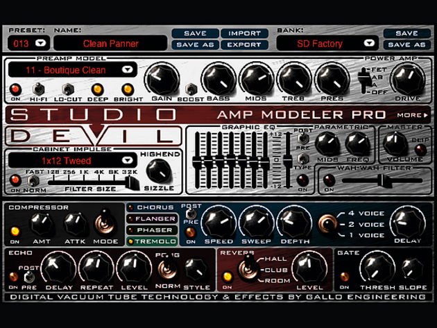 Amp Modeler Pro packs everything into a single-page interface.