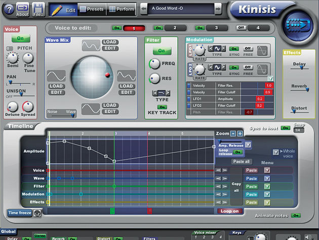 Kinisis can create the types of sounds that wouldn't be possible in other synths.
