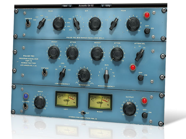 The GUI features (from top to bottom) the MEQ-5, EQP-1A and preamp.