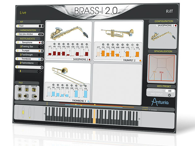Brass 2 emulates the sax, trumpet and trombone.