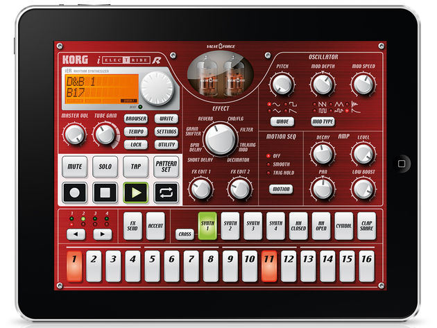 Korg's iElectribe is one of many apps you'll be able to try.