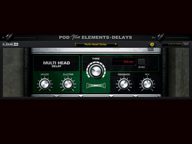 The Delays Element plug-in, here showing the Multi-Head Delay