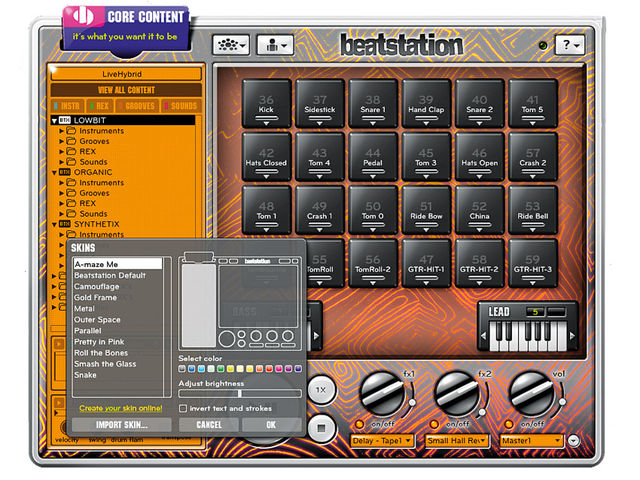 In keeping with its open-ended nature, Beatstation offers numerous skins so you can customise its look.