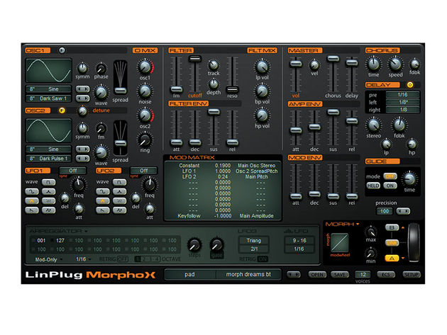 The Morph panel in the lower right controls the synth's primary feature, allowing users to morph between two presets.