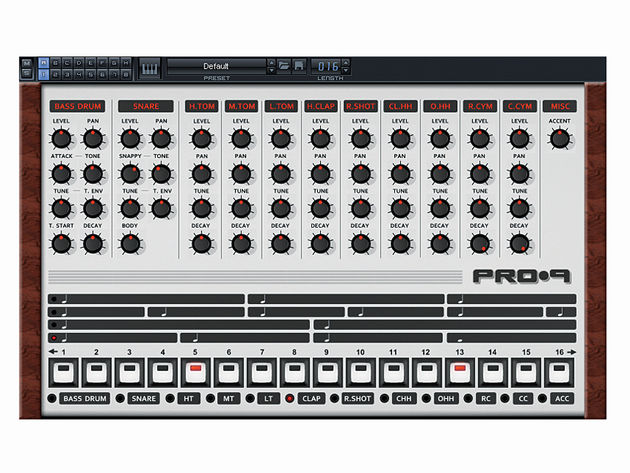Orion 8 includes Pro-9, an excellent emulation of Roland's legendary TR-909 drum machine.