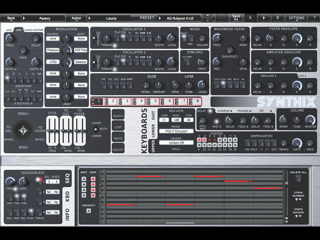 Synthix's built-in four-track sequencer comes with all the trimmings and then some.