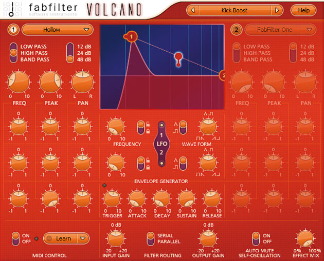 The 'volcano' theme is continued with a bright, lava-coloured GUI.