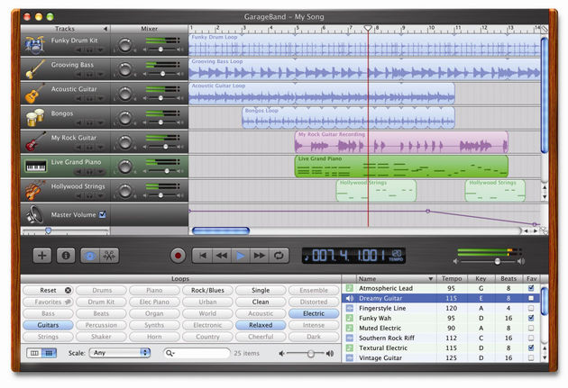 The control layout mirrors the scaled-down functionality of GarageBand.