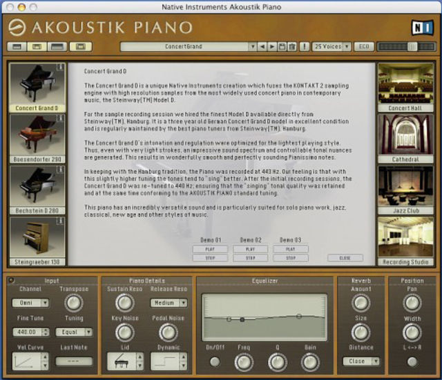 Descriptions of the sampled pianos are provided.