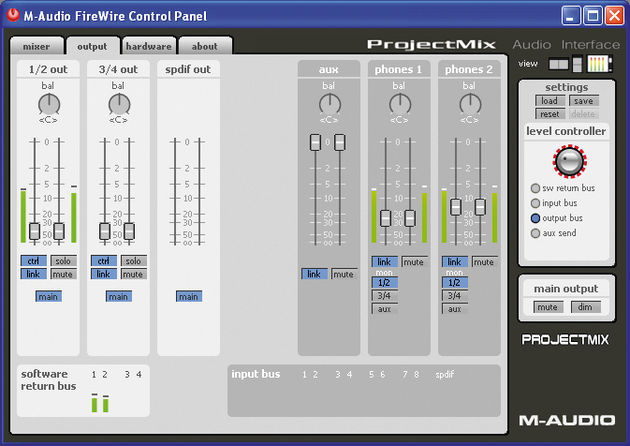The Audio Control Panel is well laid out