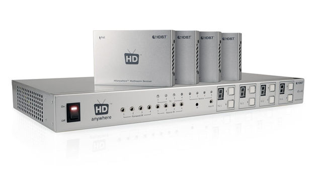 HDAnywhere's Multiroom+ is a kit that allows you to send signals via networking cable to multiple HDMI sources