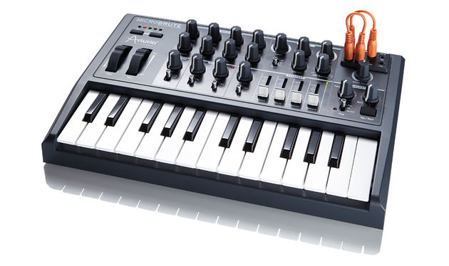 The MicroBrute has a two octave mini-size keyboard and a footprint that is about half the size of the MiniBrute