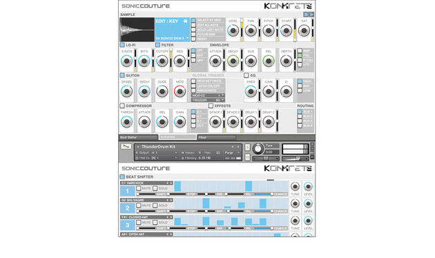 Each sound sources has modules for lo-fi, filters, envelopes, glitch FX, EQ and compression, plus reverb and delay treatments
