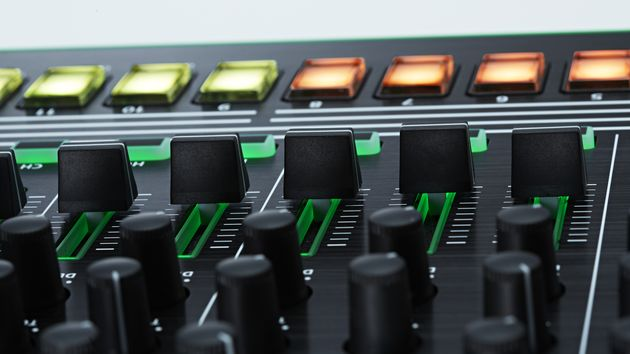 The backlit knobs and faders are designed to help you in low-light situations.