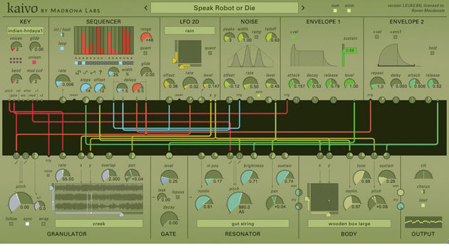aivo's modulation sources and MIDI triggering parameters are mapped by dragging virtual cables from their output nodes