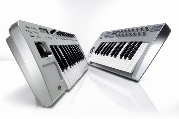 The E-mu Xboard 25 (right) is a slimline keyboard.