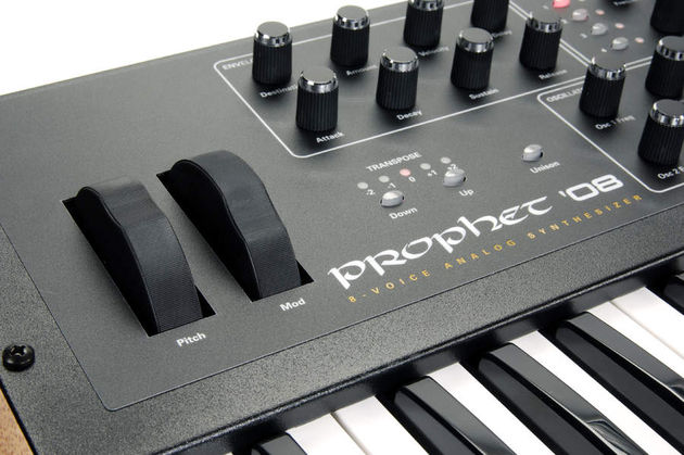 Putting the pitch and mod wheels above the keyboard has enabled DSI to keep the Prophet '08 compact