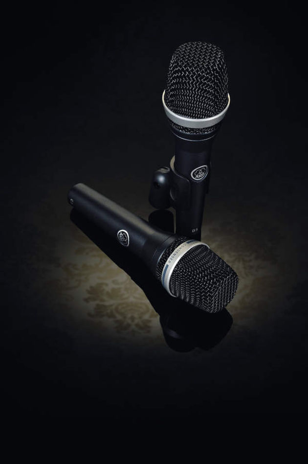 AKG's new C5 (front) and D5 (standing) microphones.
