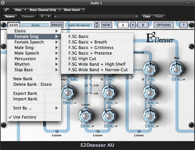 The E2 De-esser comes with loads of useful presets.