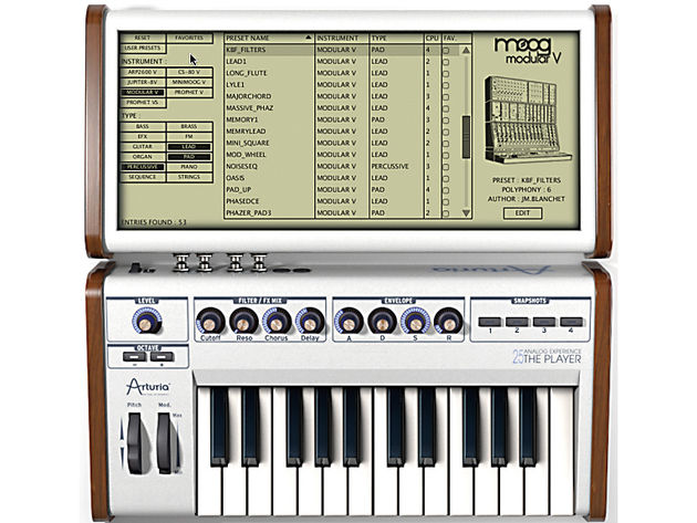 The Player's software offers 1,000 synth sounds.