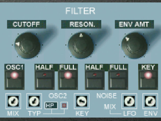 OP-X's 'half' and 'full' oscillator mix buttons stay true to the original OB-X design.