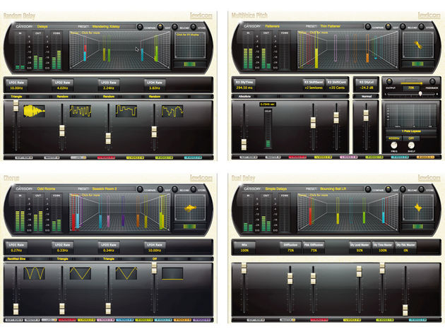 Clockwise from top left: Random Delay, MultiVoice Pitch, Dual Delay and Chorus.