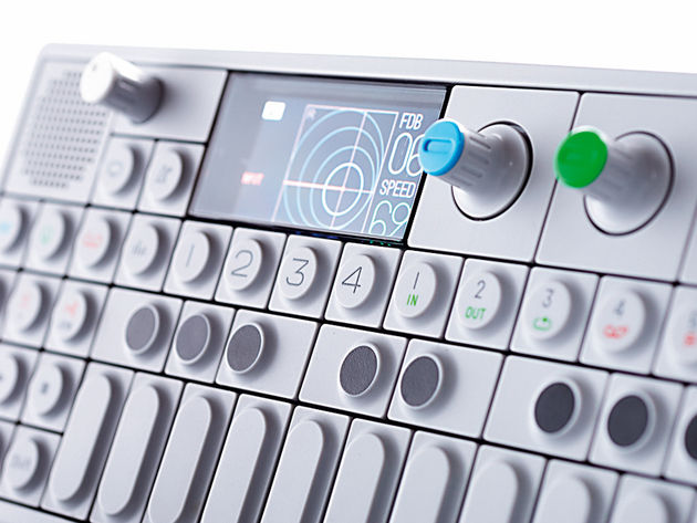The OP-1's layout is simple, with a push-button keyboard and rotary encoders.