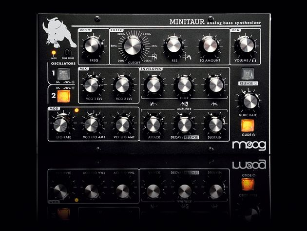 Triangle wave-based LFO can be sent to either the VCOs or the Moog filter.