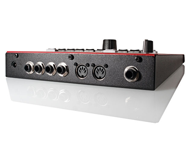 The 1/4-inch trigger inputs are compatible with all makes of drum pad and triggers, while the MIDI In and Out ports cover more conventional interfacing.