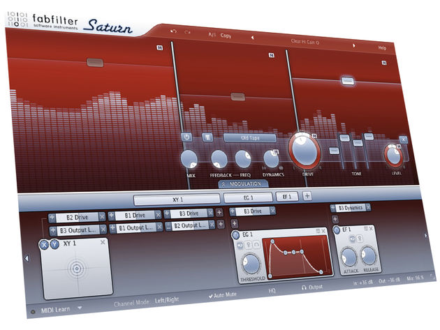 FabFilter Saturn's large spectrum analyser is an ever-present - and cool - feature of its display.