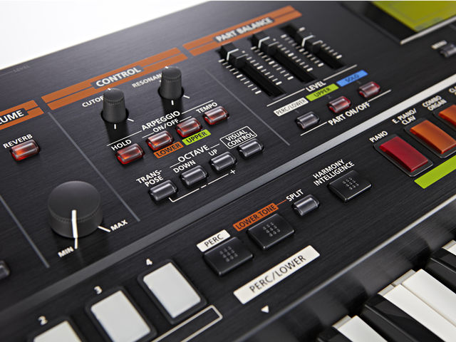 The Roland JP-50's twin real-time dials can be assigned to various controller duties or the 'tone blender' function to control multiple parameters at once.