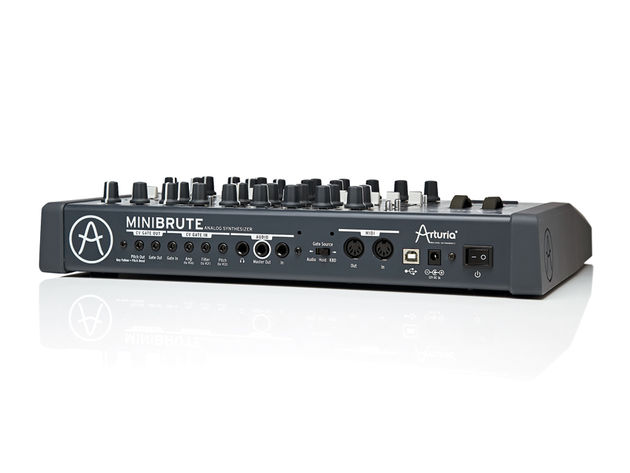 Of particular interest to analogue synth conoisseurs will be the MiniBrute's CV (control voltage) and Gate connectors (on 1/8-inch jacks) allowing independent control over the Amp, Filter, Pitch and Note trigger.