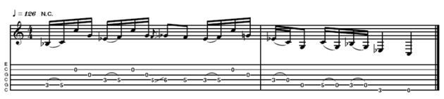 Example 5 - This is a slightly less pattern-orientated phrase that John came up with, illustrating the same rhythmic fingerstyle concept.