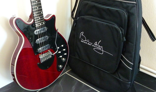 The BM guitar and black gigbag