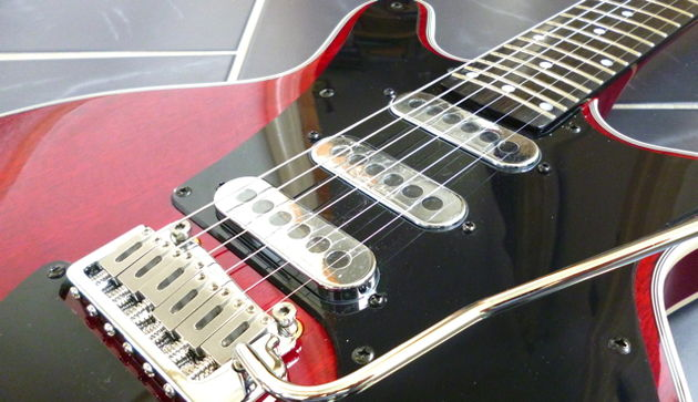 The three pickups on the Brian May guitar