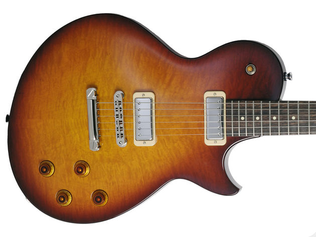 An offset Les Paul-style outline and mini humbuckers. Interesting...