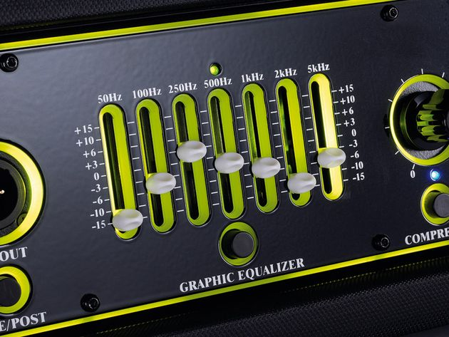 The seven-band graphic EQ offers plenty of tone-shaping versatility