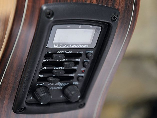The preamp features an onboard tuner that works both plugged and unplugged.