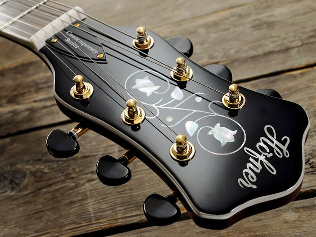 The floral pattern on the headstock evokes old-school class and craftmanship.