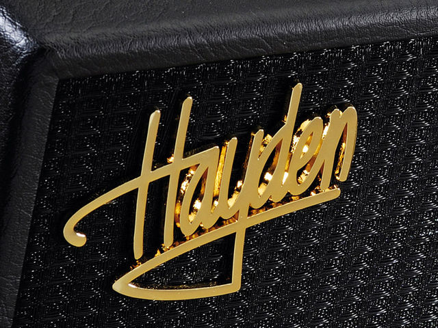 The petite's simple black grille cloth is adorned with the shiny gold Hayden logo.