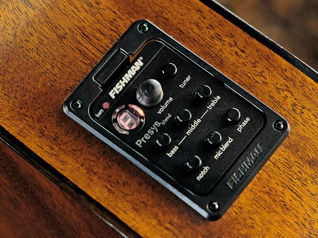 The Fishman Presys Blend preamp handles the plugged-in sounds.