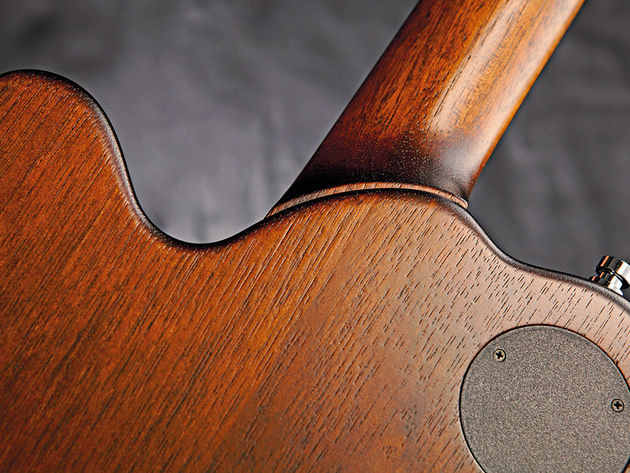 The nicely offset neck heel gives easy access to the upper frets.