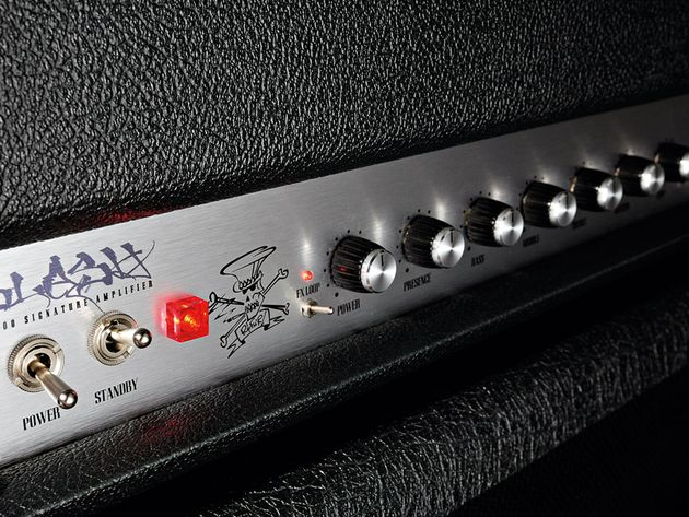The custom script and Slash logo further enhance the amp's special vibe.